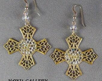 "Filigree Earrings  - 41mm Filigree Brass Cross, 15mm Swarovski AB Rocks, 14k gold filled Earwires - 2 3/4"" - Hand Crafted Artisan Jewelry"