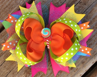 LOLLIPOP HAIR BOW Boutique Style Lollipop Birthday Hair Bow with Sparkly Tulle Lime Pink Yellow Turquoise Purple Infants Toddlers Girls