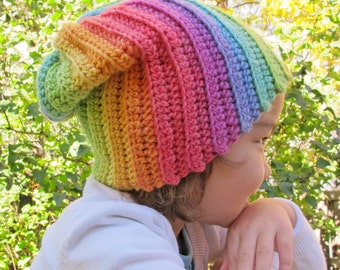 CROCHET PATTERN - Lollipop Swirl - colorful crochet slouchy hat pattern, crochet hat pattern (Infant - Adult sizes)- Instant PDF Download