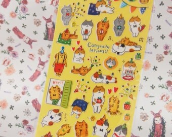 Funny Party Cat Sticker (1 Sheet)