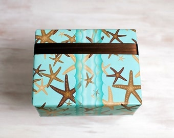 Starfish Recycled Gift Wrap, Modern Wrapping Paper, Beach Island Coastal Theme, Made in the USA, Everyday Gift Wrap, Blue Eco Gift Wrap