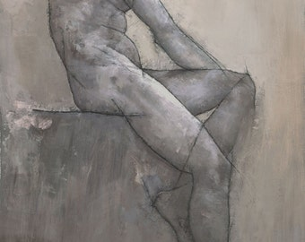 Reuben, Male Figure Painting, Signed Fine Art Print 20x10 inches