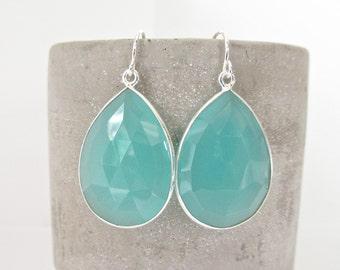 Aqua Chalcedony Silver Earrings - Gemstone Earrings - Drop Earrings - Silver Earrings - Chalcedony Jewelry