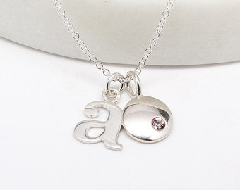 Lowercase Initial & Birthstone Necklace - Personalized - Silver Initial Necklace