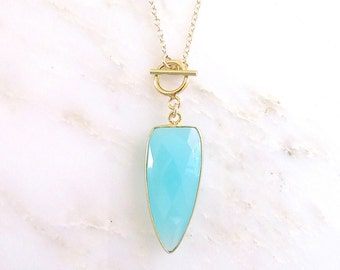 Aqua Chalcedony Toggle Clasp Necklace - Toggle Clasp Necklace