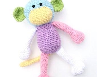 Marley the Crochet Monkey - pastel colour block - *READY TO SHIP*
