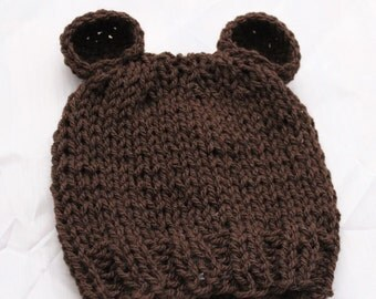 Newborn Baby Bear Knitted Beanie