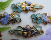 4 Vintage Solid Brass Pained Pansy Finding