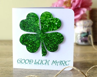 Handmade Personalised Good Luck Card - 3D Four Leaved Clover, Good Luck, Lucky Shamrock, Personalized, Cards by Gaynor 4 Leafed Clover BHE24
