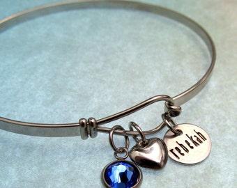 Personalized Jewelry - Personalized Bracelet - Hand Stamped Jewelry - Name Bracelet - Personalized Bangle Bracelet - Birthstone Jewelry
