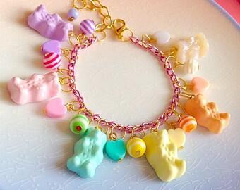 Candy Pastel Bracelet - Bear, Kawaii, Rainbow, Gummy, Sweet, Charm, Lilac, Mint, Pink