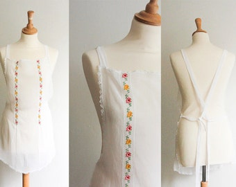 Vintage White Embroidered Apron