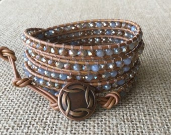 Chinese Crystal, Beaded Leather Wrap, Baby Blue, 5x Wrap Bracelet, Tan Leather, Free Shipping
