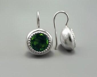 Green Drop Earrings, Green Tourmaline Earrings, Green Zircon earrings, Tourmaline Crystal Earrings, Round Silver Earring, October Birthstone