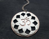 Mandala Om Pendant - double layer sterling silver and copper - Handcrafted Sacred Geometry Jewellery