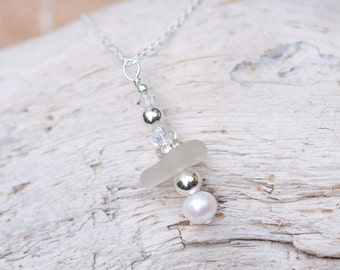 White Sea Glass Necklace 0077