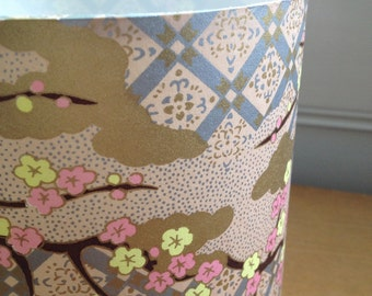 "Cylinder Lampshade - Golden Patchwork - 15cm diameter 20cm height (approx 6"" x 8"")"