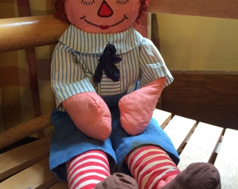 Raggedy Andy 1940s Handmade Doll Embroidered