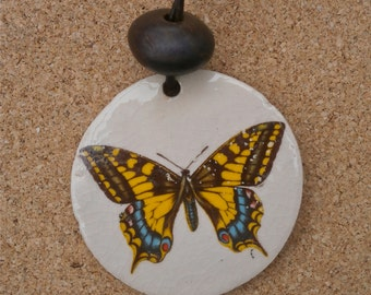 Yellow butterfly pendant - 2 in 1 ceramic pendant with decal