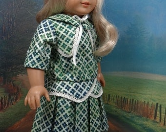 1914 Pleated frock for American Girl Rebecca, Samantha, Nellie or similar 18 inch doll.