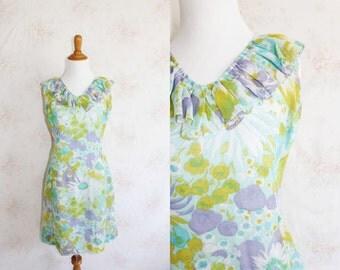 Vintage 60s Sundress, 1960s Floral Chiffon Dress, Ruffles, Flower Print, Sleeveless, Pastel