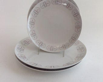 Franciscan Whitestone Ware / Merry - Go - Round / 2 Dinner & 2 Salad Plates