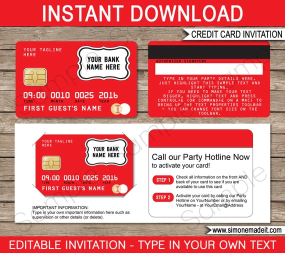 credit card invitation template mall scavenger hunt red instant download with editable. Black Bedroom Furniture Sets. Home Design Ideas
