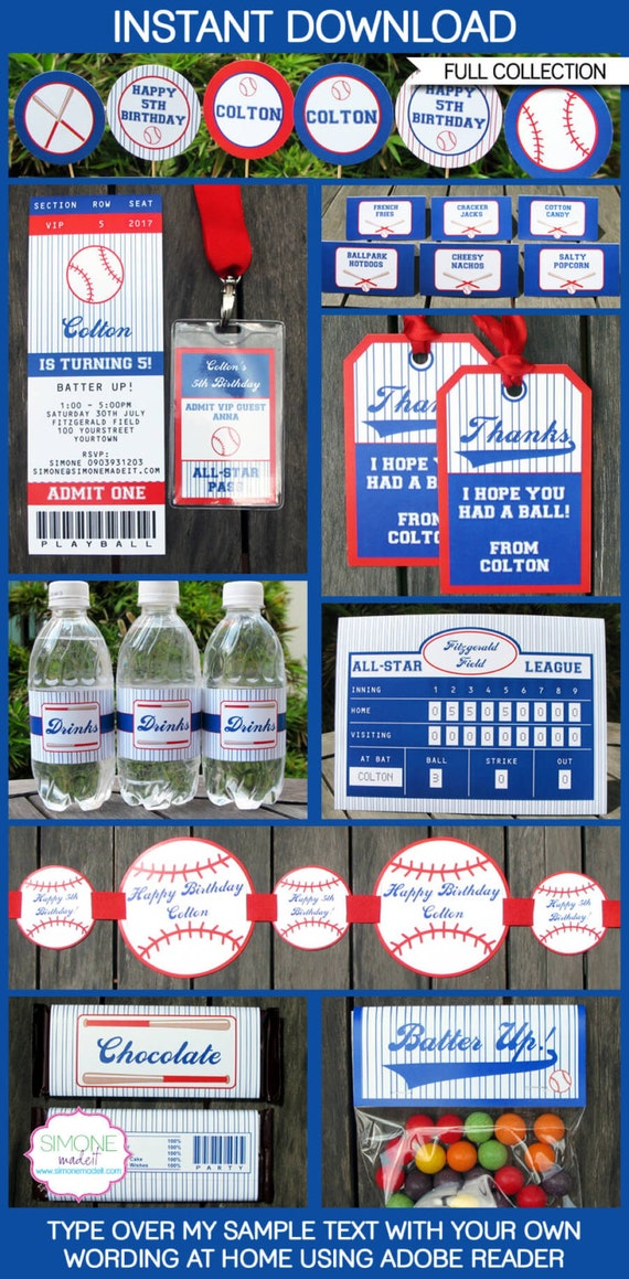 Baseball Party Invitations & Decorations - full Printable Package - INSTANT DOWNLOAD with EDITABLE text - you personalize at home