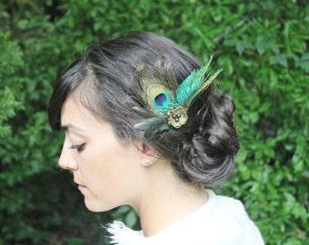 Peacock Feather Hair Accessories - Peacock Hair Clip - Boho Flower Feathers Peacock Wedding