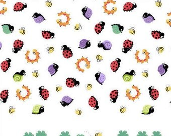 "Leif the Caterpillar Fabric ""Leif Double Border"" by Susybee! 100% Cotton, Children and Baby Fabric, Insects, Great for Quilting, Sewing!"