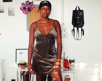 90s Cheetah Print Lingerie Slip Dress sz. M