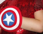 Captain America shield - soft felt Superhero costume accessory for kids - Blue Red White - birthday gift for boy - pretend Dress up play