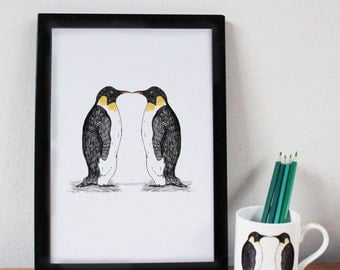 Penguin Print - anniversary gift - wedding gift - penguin gift - penguin drawing - penguin- gift for girlfriend - hygge - valentines gift