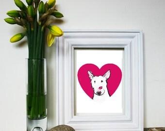 "Bullie Love Print ""My Funny Valentine"" with white or black/white dog"