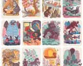 Latvian and Lithuanian Folk Songs / Tales, Drawings by K. Ovchinnikov. Complete Set of 16 Postcards in original cover -- 1969