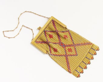 Vintage Art Deco Whiting Davis Enamel Gold Mesh Flapper Purse 1920s