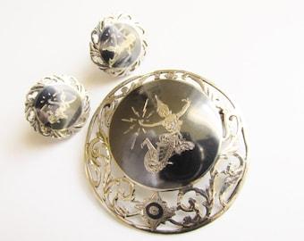 Vintage Siam Sterling Silver Nielloware Brooch & Earrings