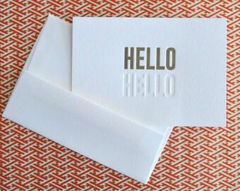 hello hello mini notecard :  letterpress
