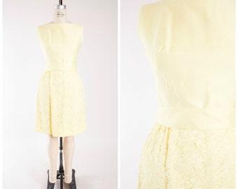 60s Vintage Dress • She Kissed Me • Yellow Lace Vintage 1960s Sheath Dress Lilli Diamond Size Medium