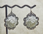 Antique Silver Plated Filigree with White Lucite Rose Earrings