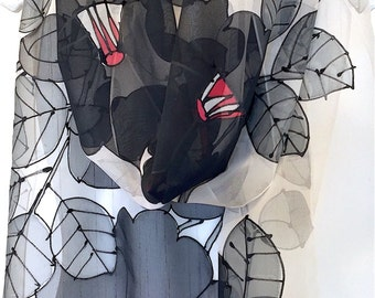 Hand Painted Silk Scarf, ETSY, Black Silk Scarf, Gift for Her, Black Japanese Camellia Scarf, Chiffon, Silk Scarves Takuyo, 11x90 inches