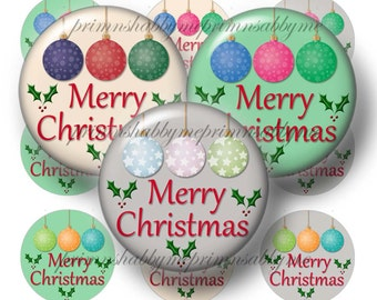 Christmas, Digital Download, 1 Inch Circle, Digital Collage Sheet, Bottle Cap Images, Merry Christmas, Printable, Instant Download