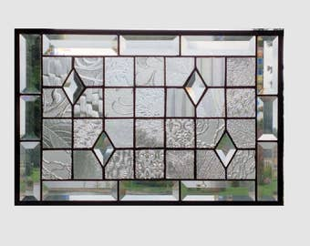Beveled stained glass panel window geometric clear quilt sampler stained glass window panel window hanging suncatcher 17 1/2 x 11 1/2 0171