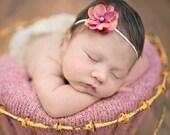 Mauve hydrangea flower headband Newborn Headband..Baby Headband...Infant Headband, Flower Headband
