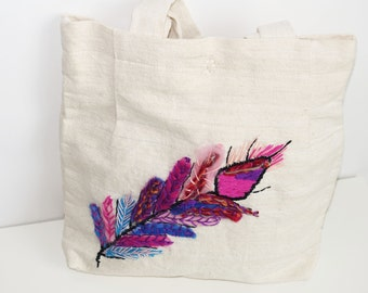 Purple feather Purse, Linen Tote bag, Natural cotton Handbag hand sewn abstract pattern, Gypsy Handbag handcrafted, eco friendly, boho
