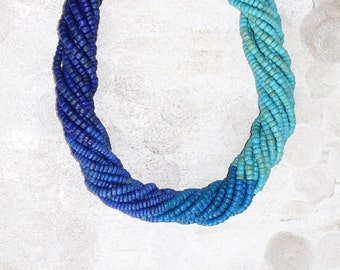 Blue Statement Necklace twisted necklace Turquoise dark blue Multistrand navy choker beaded necklace handmade minimalist aqua small beads