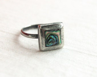 Square Abalone Ring Size 6 .75 Vintage Modern Mexican Sterling Silver Jewelry