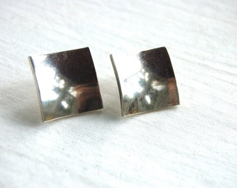 Square Earrings Sterling Silver Posts Vintage Mexican Modern Geometric Jewelry Concave Post Studs