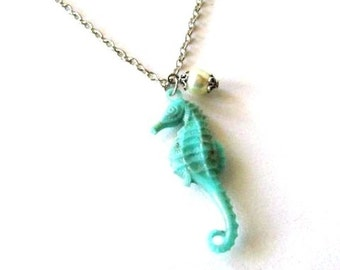 Acrylic turquoise seahorse necklace jewelry, nautical necklace, seahorse pendant necklace sea life