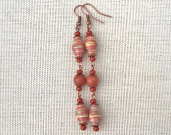 Paper bead earrings ~ Red malachite earrings ~ One of a kind jewelry